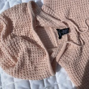 BABY PINK CROCHET HOODED SWEATER